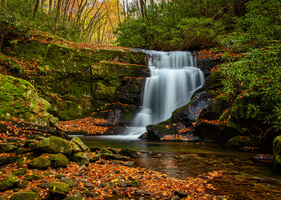 Meadow Branch Waterfall No. 2 — Smoky Mountains waterfall photography prints