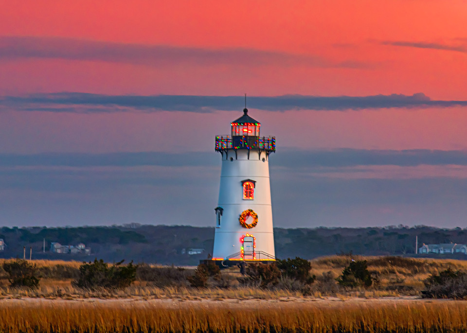Edgartown Light Magenta Christmas Sunset Art | Michael Blanchard Inspirational Photography - Crossroads Gallery