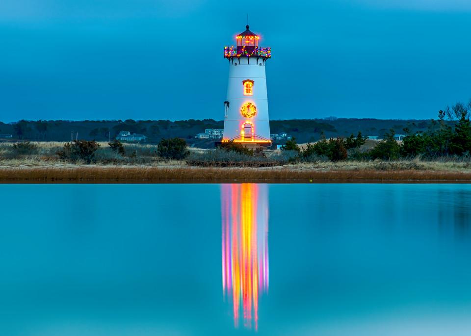 Edgartown Light Christmas Light Reflections Art | Michael Blanchard Inspirational Photography - Crossroads Gallery