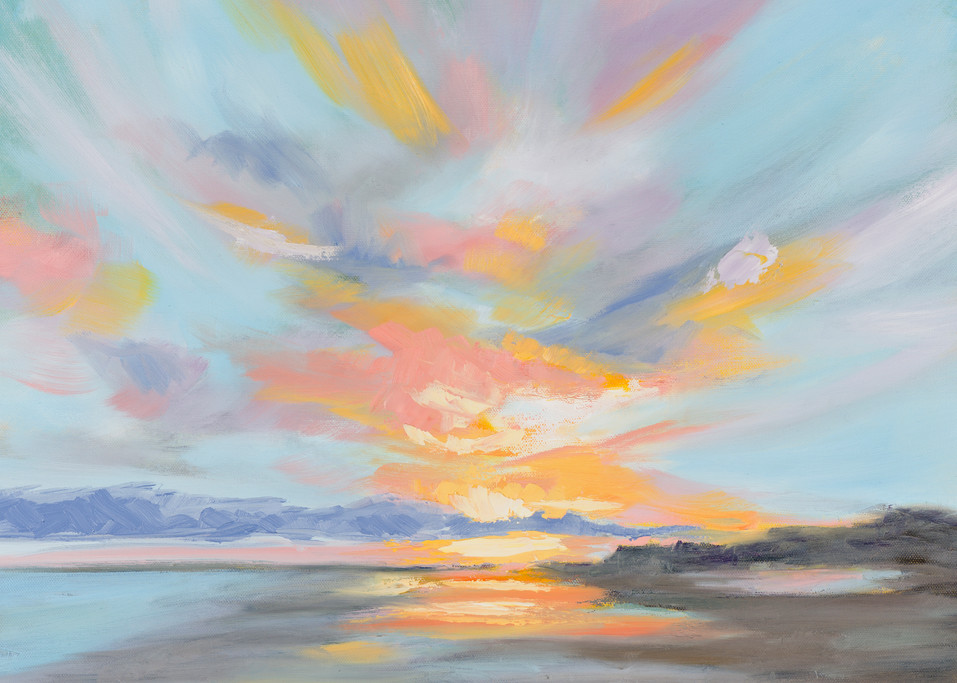Giclee Print Pastel Clouds at Folly Beach- Square by April Moffatt