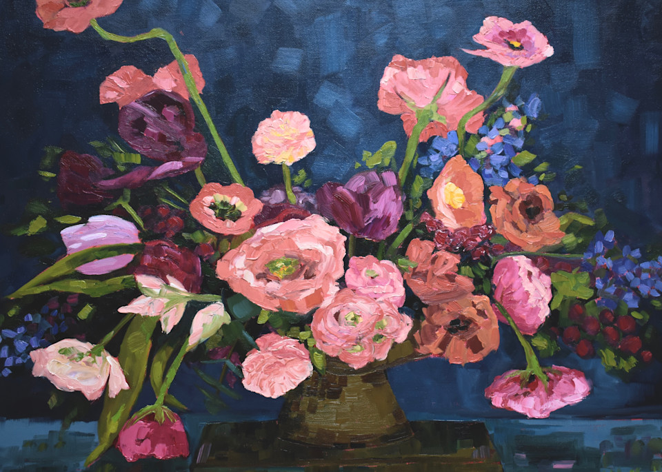 Giclee Print Poppies and Ranunculus Floral  Art