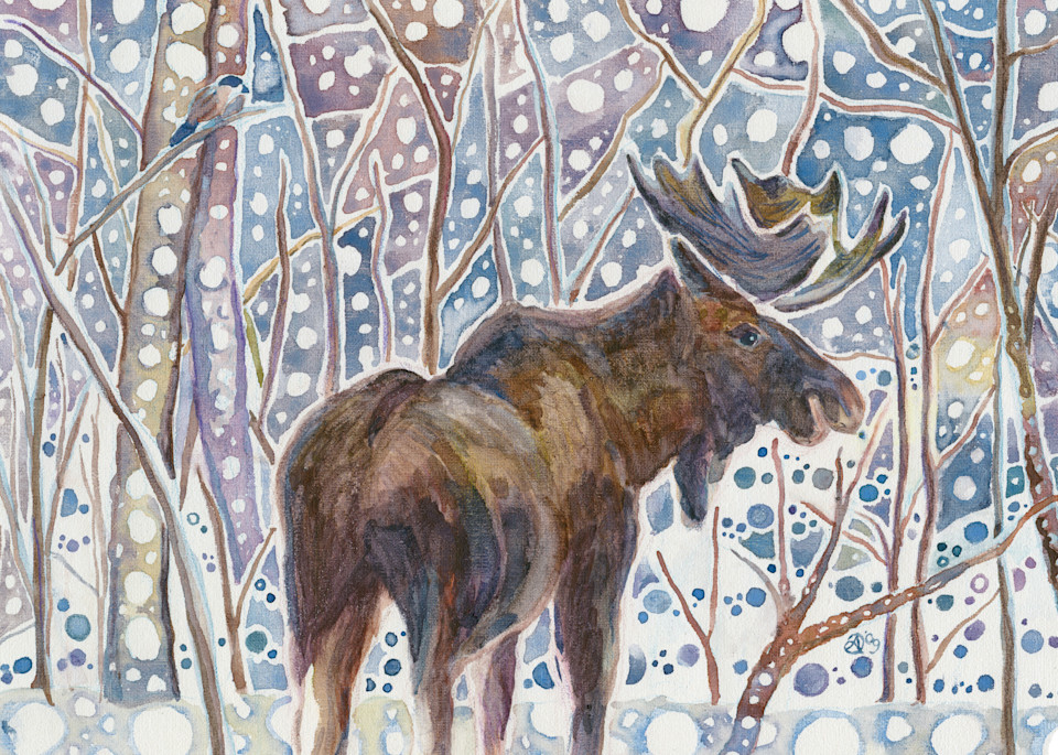 Alaska Moose and Chickadee in Birch Forest Art Print from Watercolor
