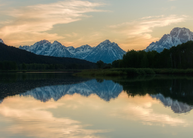 Beautiful reflection at sunset in Grand Teton National Park, with Mount Moran on the right.