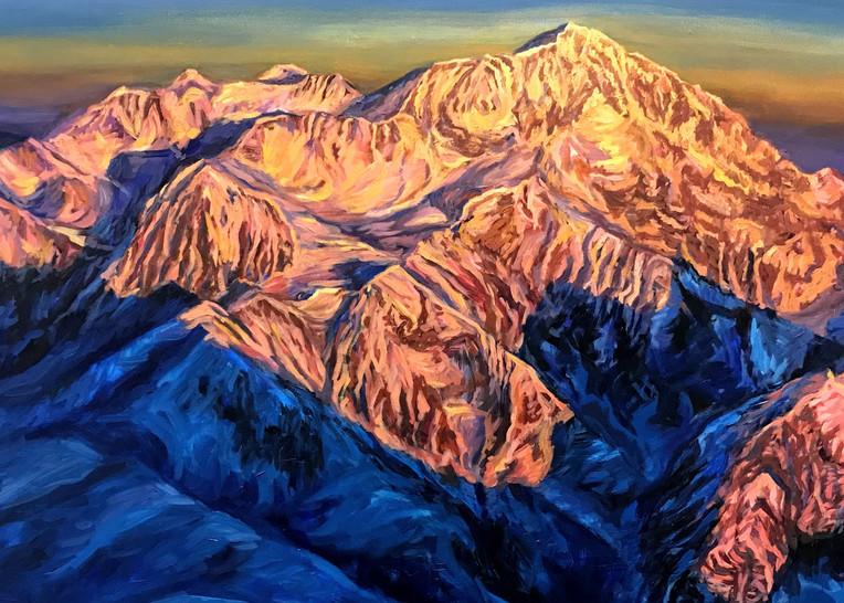 Denali Greeting Card - West Buttress Route Art by Alaska Artist Amanda Faith Thompson