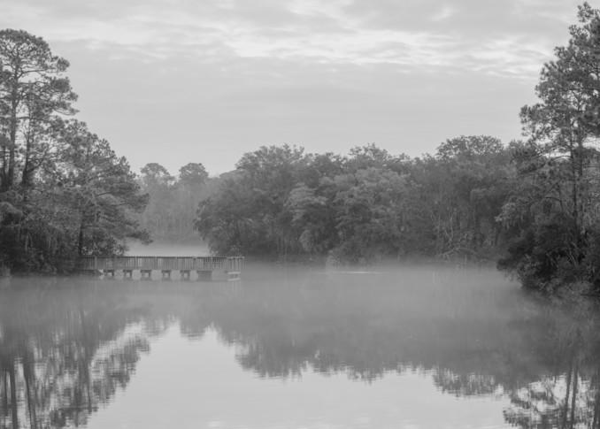 Lake Mary Foggy Morning in Black & White