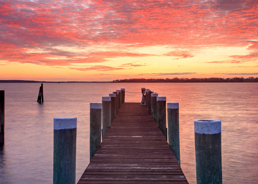 """Into the Light"" Bristol RI Scenic Landscape, Seascape Photograph, Wally Park Dock Sunset, Inspirational Beach Pier Print"