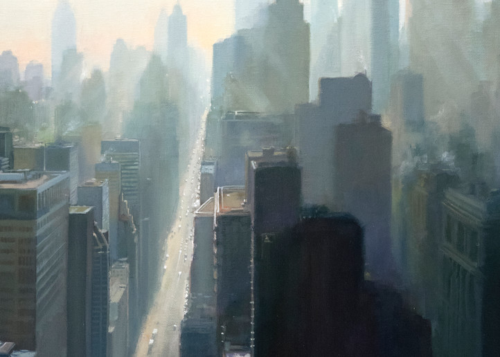 'Looking East' print of cityscape painting by Ed Little, Bridgewater, CT
