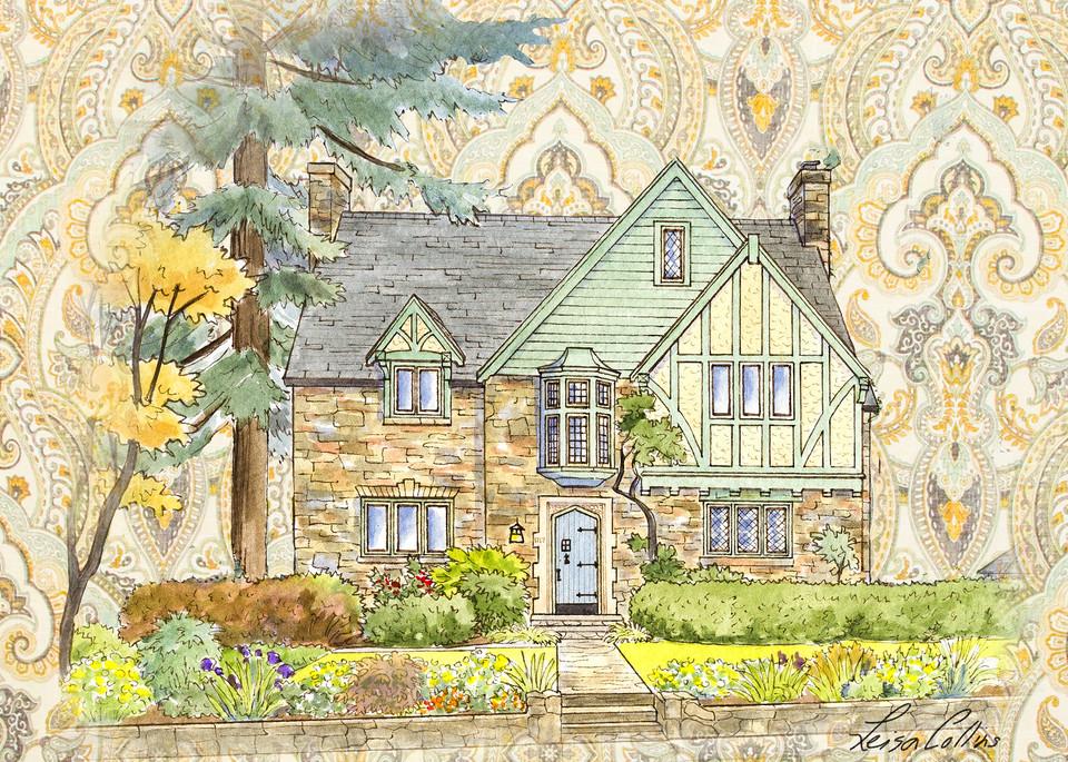 Country Tudor Manor Collage Art | Leisa Collins Art