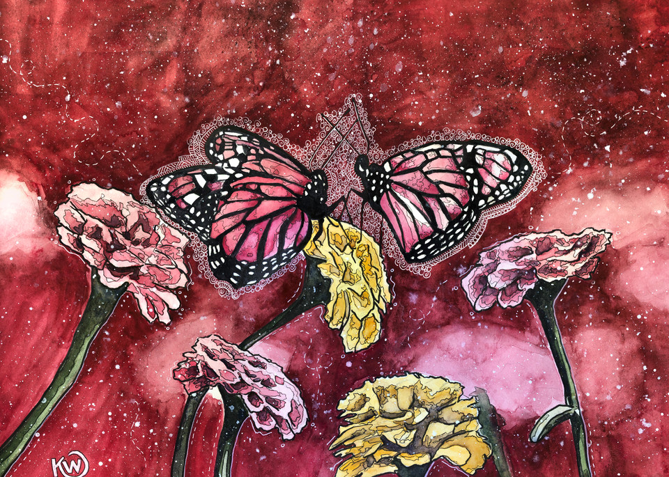 Pink Butterflies Art | Water+Ink Studios