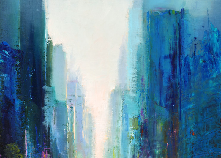 'CityMix1' print of original oil painting by Ed Little, Bridgewater, CT