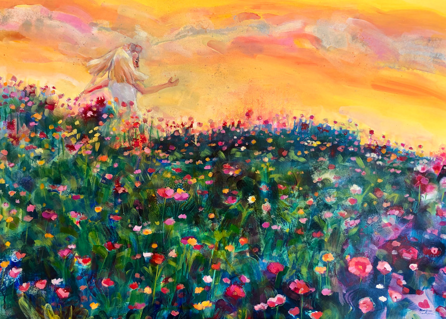 High quality art print of a blonde girl running through a cosmos flower field by Monique Sarkessian.