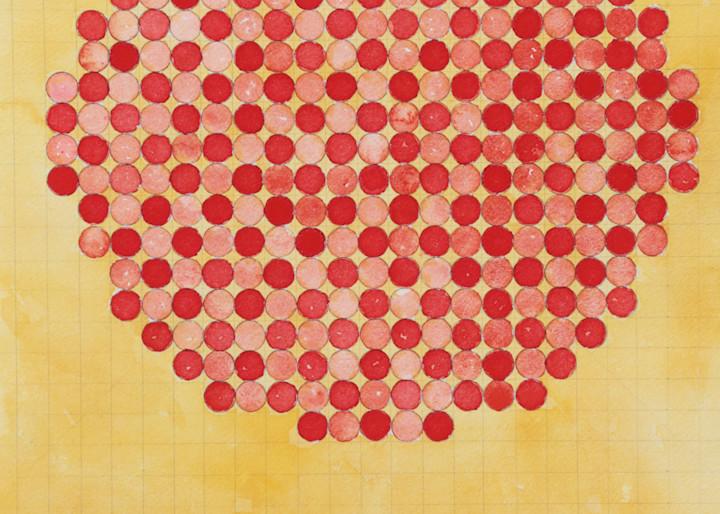 Circle Circle, Red Grid Art   Courtney Miller Bellairs Artist