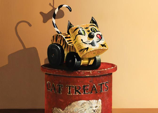 Treat Tin | Oil painting | Richard Hall | Cat treat tin | Tawny Tiger