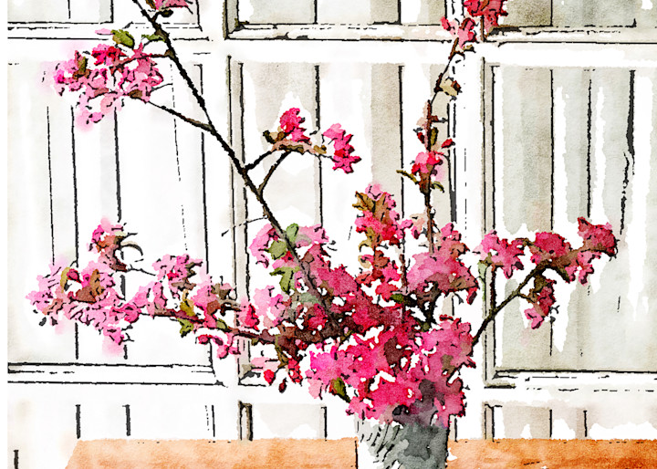 crabapple, photograph, flowering-tree, watercolor-photo, bouquet