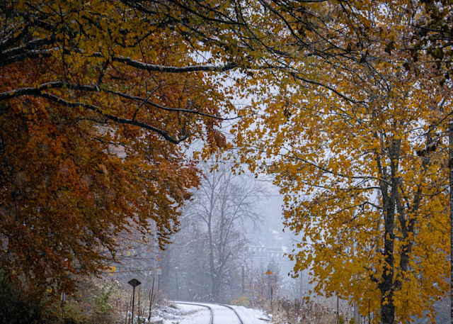 Tom Weager Photography - Fall and snow on the tracks
