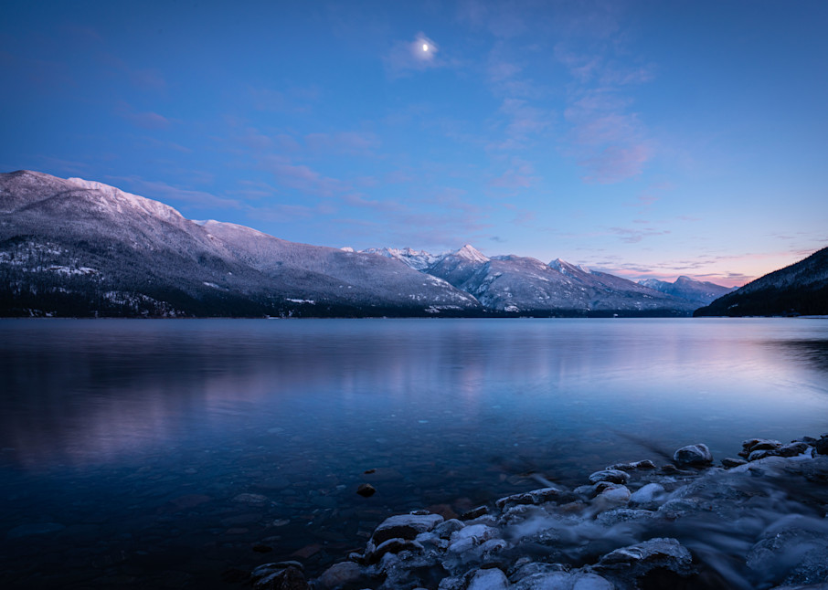 Tom Weager Photography - Lost ledge creek with a half moon at sunset