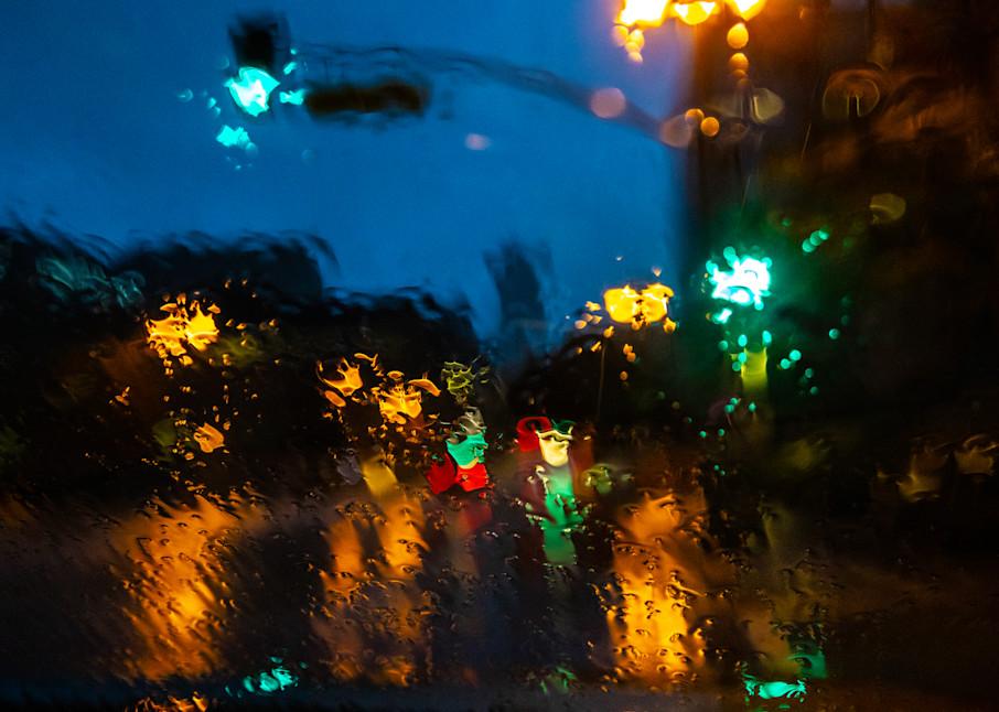 rainy night photo, Abstract Photography, Los Angeles City Rain Print, Downtown LA, Urban Landscape, Wall Art Print, Street Photography Fine Art Print, Los Angeles photography