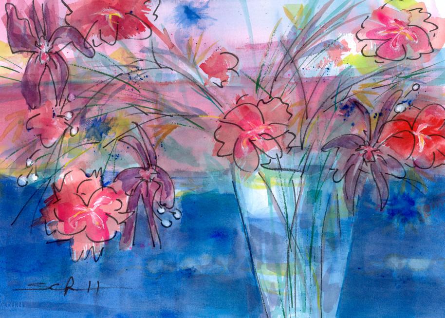 #4 Bright Bouquet And Vase Art   Elaine Schaefer Hudson Art