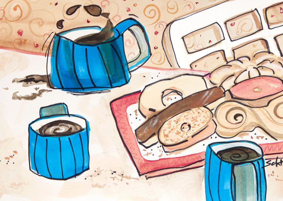 Coffee With Friends Art | Elaine Schaefer Hudson Art