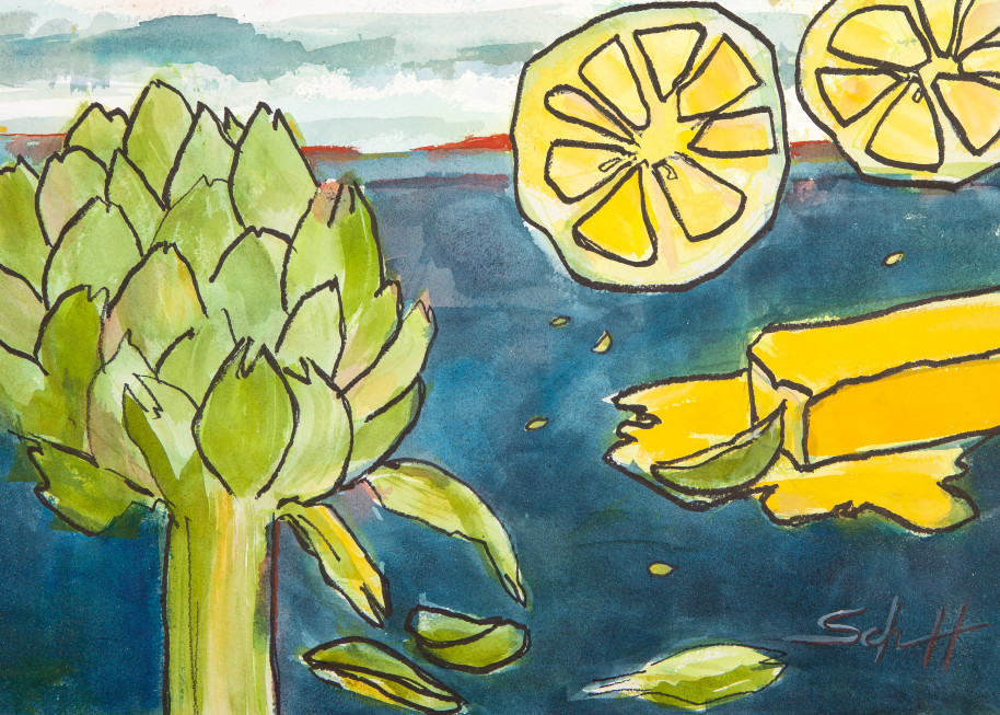 Artichoke With Butter And Lemon Art | Elaine Schaefer Hudson Art