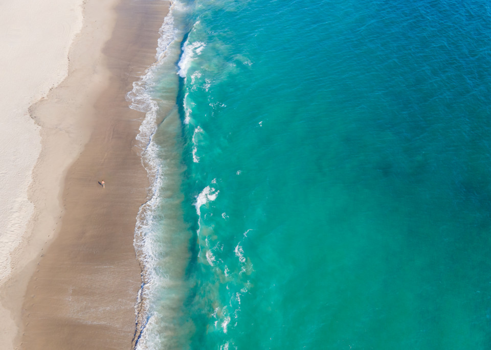 beach, walk, alone, turquoise, coast, ocean, Aerial Beach Print, Beach Photography, Ocean print, coastal wall art, Los Angeles, Santa Monica, California, Large Beach photo, Alone