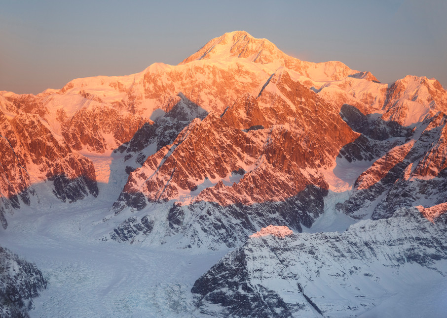 Winter landscape of first light on the summit of Denali (Mt. Mckinley) with glaciers and other Alaska Range Mountains below. Denali National Park, Alaska  Photo by Jeff Schultz/SchultzPhoto.com  (C) 2017  ALL RIGHTS RESVERVED