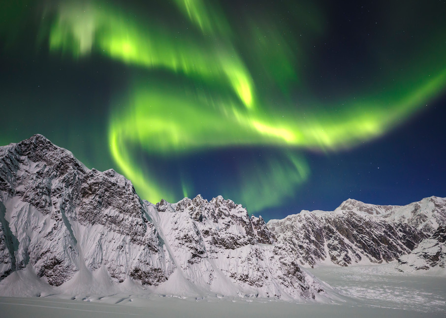 Aurora Borealis -- Northern Lights over Denali (Mt. Mckinley) in the Ruth Glacier and Amphitheater in the Alaska Range.  Winter 2017  Photo by Jeff Schultz/SchultzPhoto.com  (C) 2017  ALL RIGHTS RESERVED