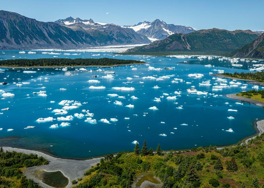 Summer landscape aerial photo of icebergs at Bear Glacier and Bear Glacier Lagoon in Kenai Fjords National Park.  Kenai Penninsula, Summer, Alaska     Photo by Jeff Schultz/  (C) 2019  ALL RIGHTS RESERVED