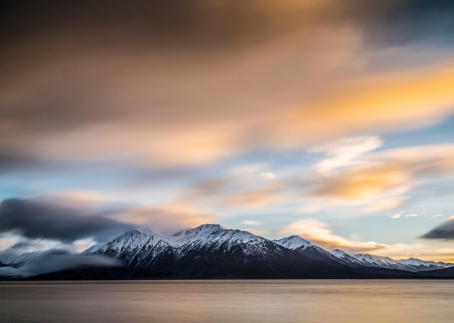 winter landscape of Turnagain Arm with Kenai Mountains and clouds at sunset  Alaska 2014 stock