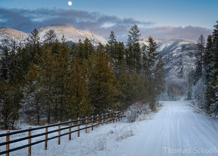 Backcountry road in Montana's Seeley-Swan Valley under the Rocky Mountain peaks | Fine art prints for sale