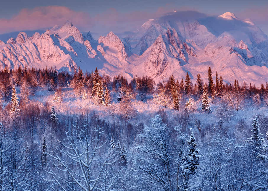 Winter landscape of clearing storm over Tokosha Mountains of the Alaska Range and snow-covered forest. Southcentral, Alaska      Photo by Jeff Schultz/SchultzPhoto.com  (C) 2016  ALL RIGHTS RESVERVED