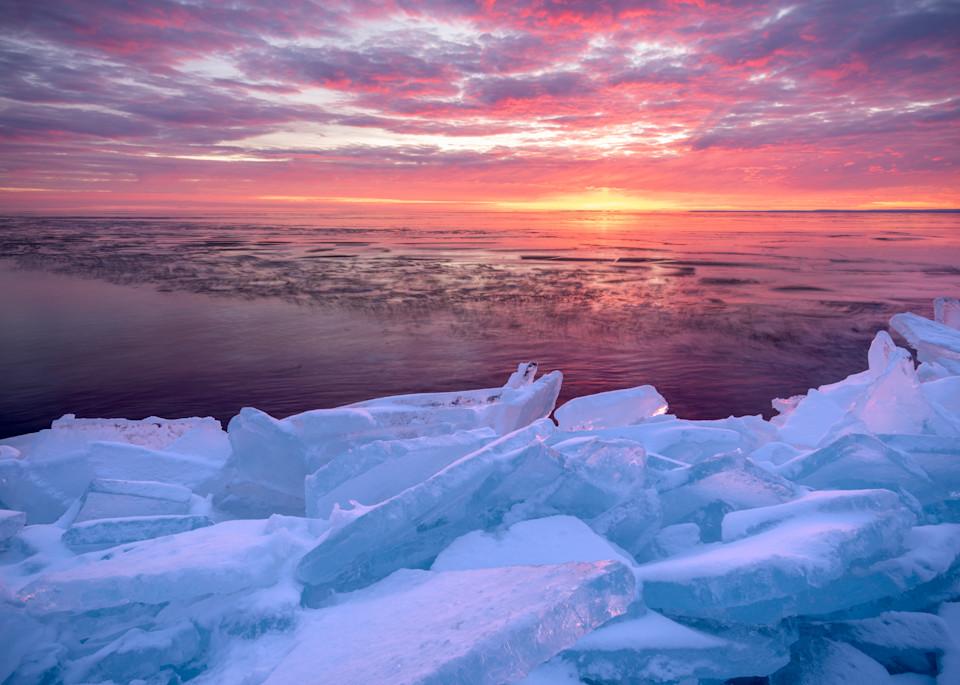 Sunrise over shattered plate ice along Lake Superior