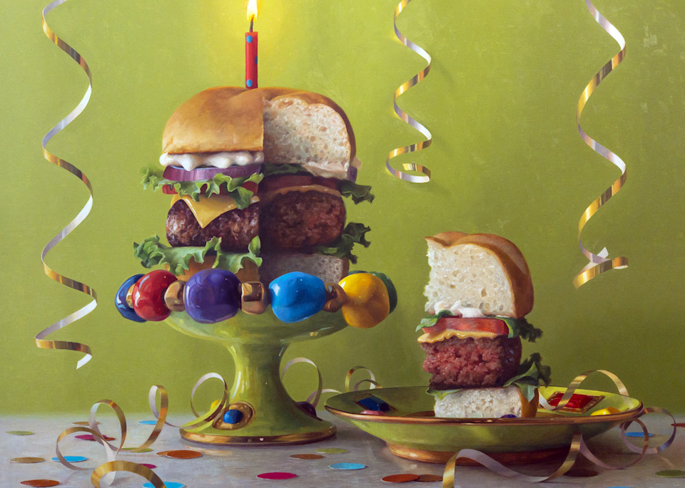 Birthday Burger Art | Romanova Art