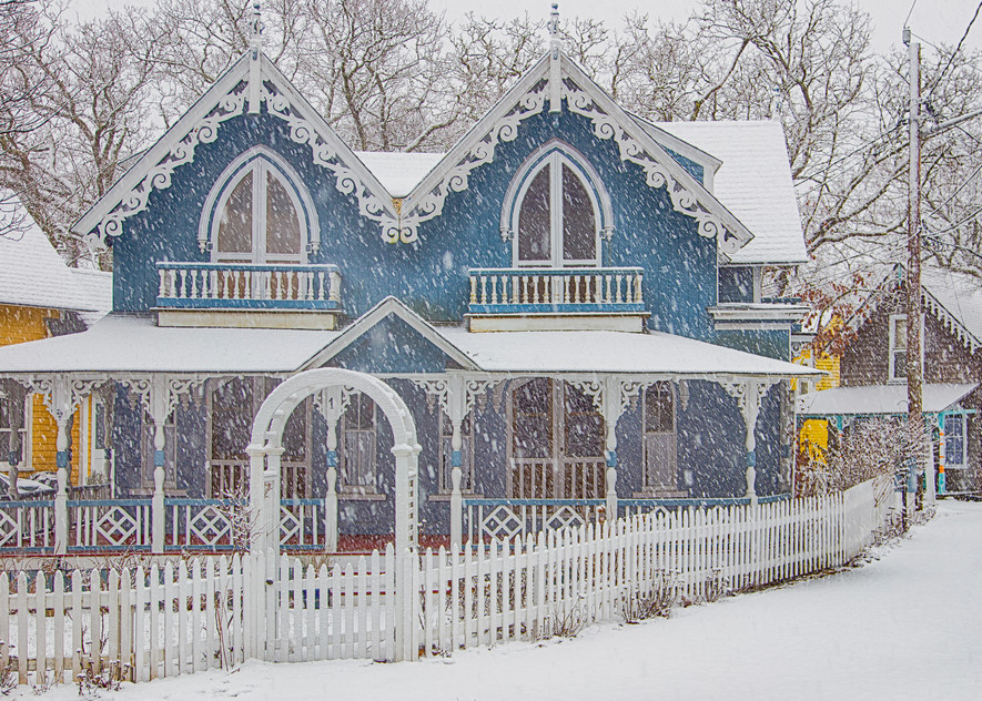 Gingerbread Snow And Picket Fence Art | Michael Blanchard Inspirational Photography - Crossroads Gallery