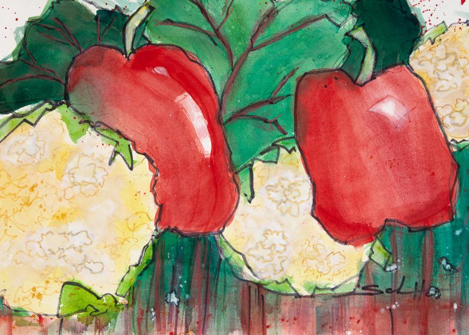 Peppers And Cauliflower Art | Elaine Schaefer Hudson Art
