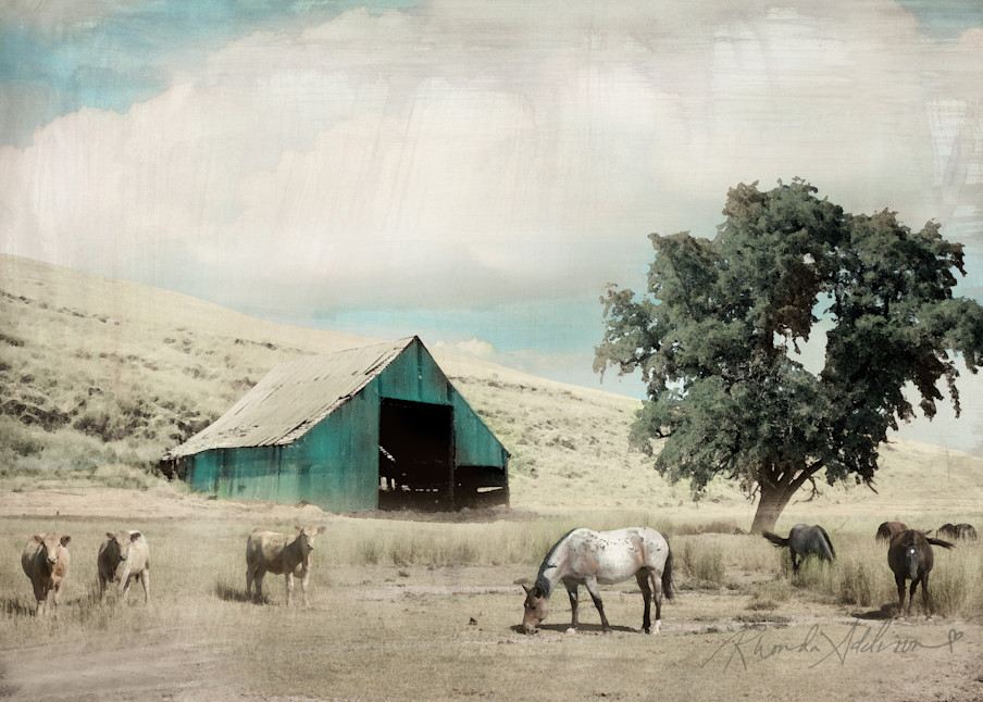 BARN with Horses & Cows Art