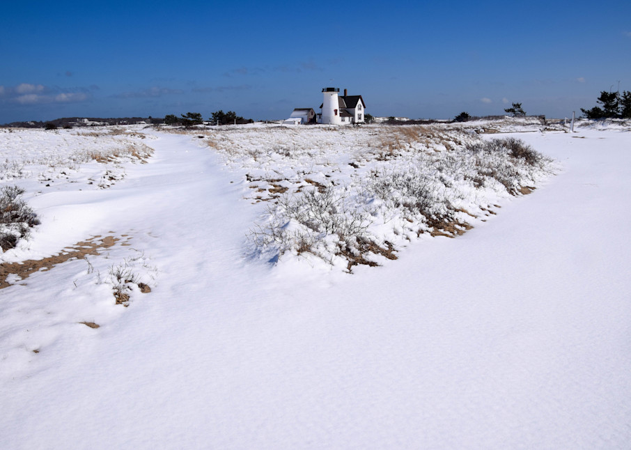 Stage Harbor Light Winter Path Photography Art | The Colors of Chatham
