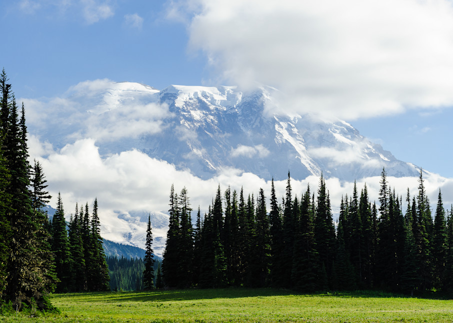 Mount Rainier Shrouded by Clouds, Grand Park, Washington, 2016