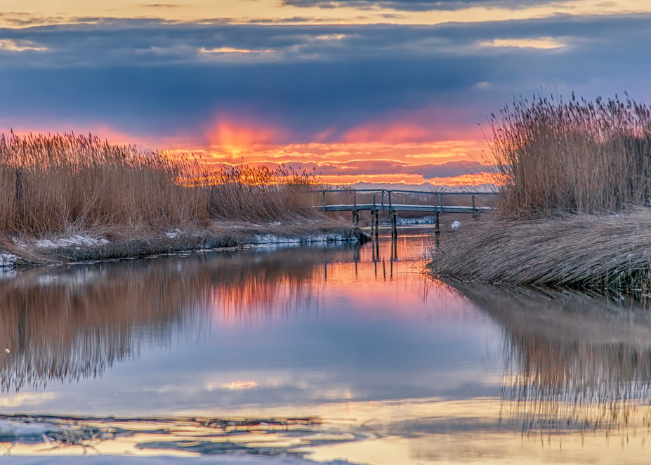 Qunasoo Bridge Winter Red Sky Art | Michael Blanchard Inspirational Photography - Crossroads Gallery
