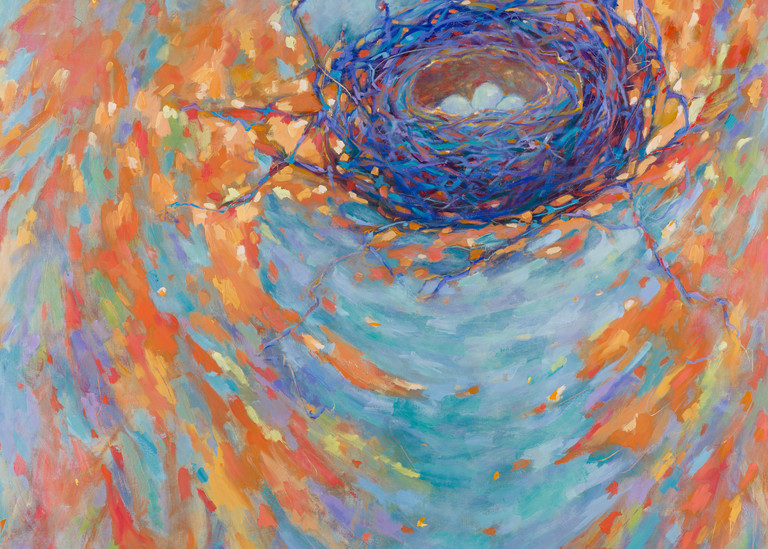 Forever Safe one of Laura McRae-Hitchcock's popular nest paintings