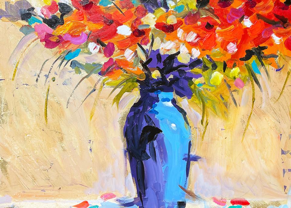 Blue Vase And Red Flowers Art   Charles Wallis