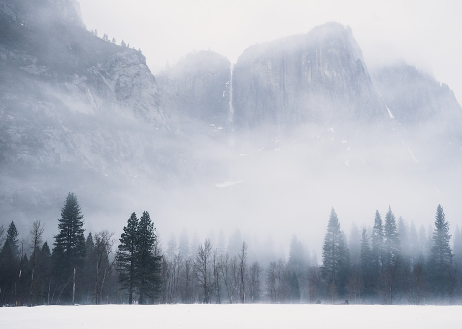 Winter's Delight - view of Yosemite Falls from a snowy meadow photograph print