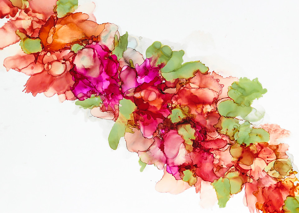 Abstract Alcohol Ink of A Bunch of Flowers by Terry Rosiak