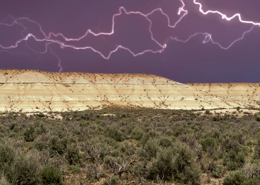 Nevada Badlands Under Lightning Photography Art   Great Wildlife Photos, LLC