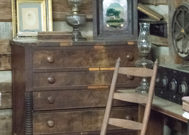 Dresser And Ladderback Chair In Log Cabin Photography Art   Great Wildlife Photos, LLC