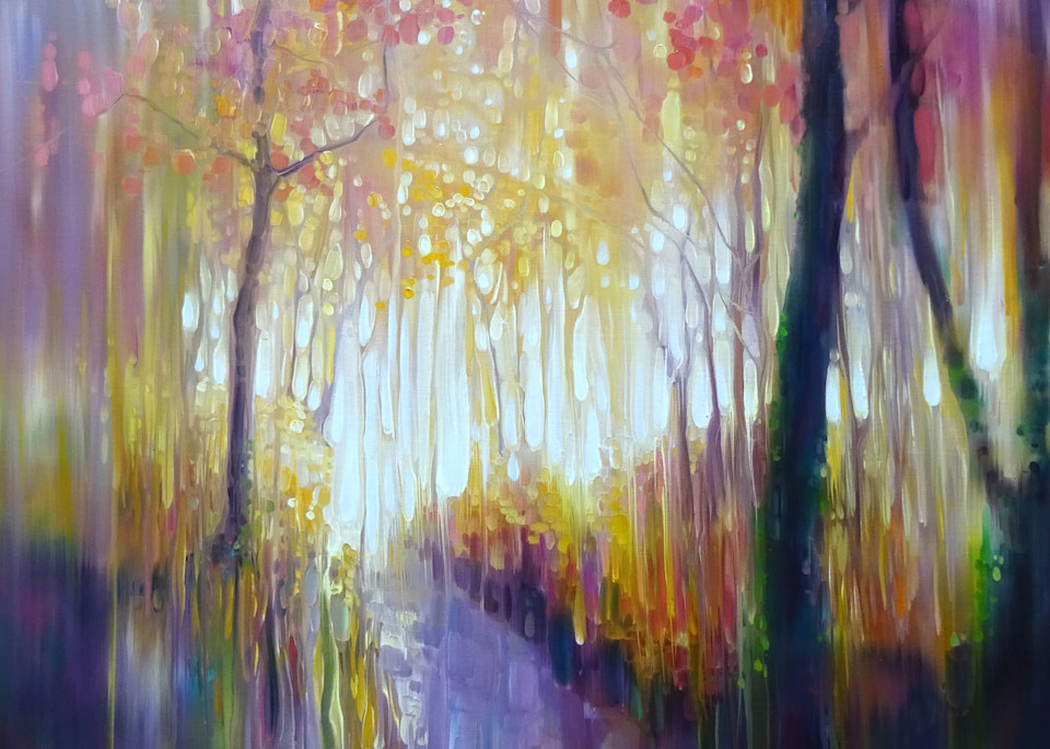 print of an autumn path with autumn colours in semi-abstract style.