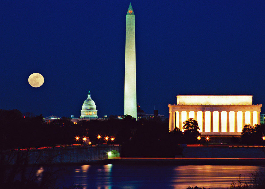 Dc Mall View Moon Art | Frasier Photography