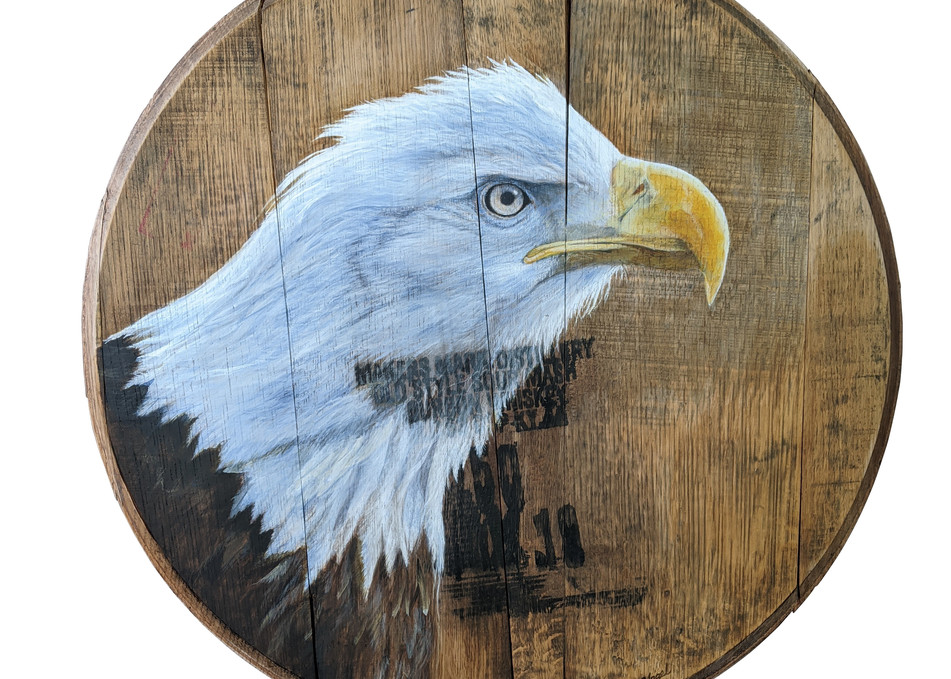 Eagle Bourbon Barrel Art | Lori Vogel Studio