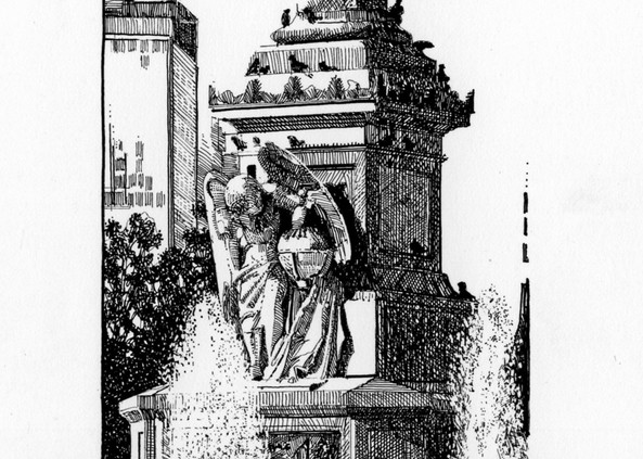 Columbus Circle, Nyc Art   Andre Junget Illustration LLC