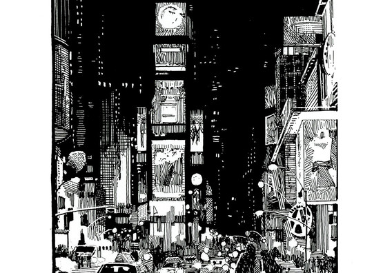 Times Square, Nyc Art | Andre Junget Illustration LLC